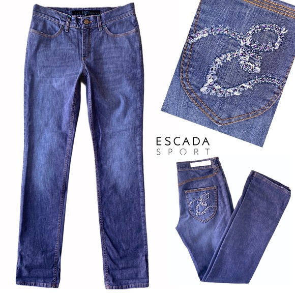 ESCADA SPORT 5 POCKET PURPLE RHINESTONE LOGO JEANS
